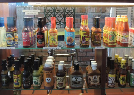 Pancho's Cantina has a variety of Hot Sauces that you can sample while dining. Th hot sauces are available for purchase at Pancho's Trading Post